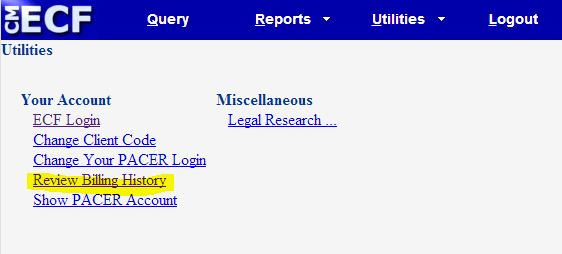 Utilities page at Massachusetts district court